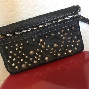 Nine West Black Leather Clutch with Studs